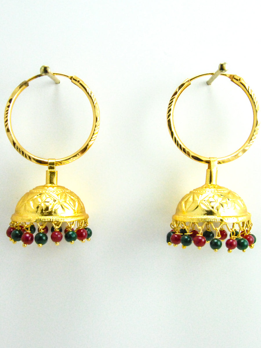 Desi Jhumka earrings with Multicolored beads - Desi Royale