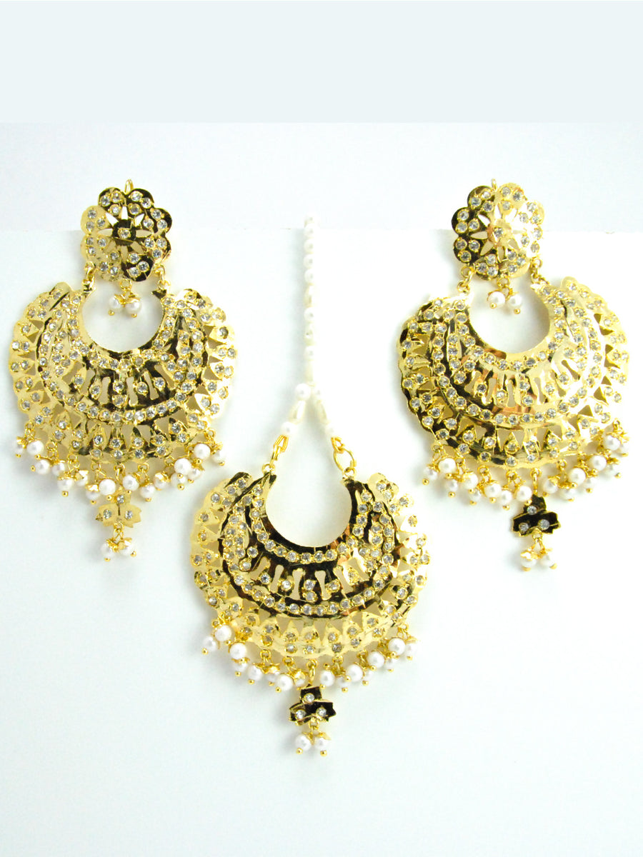 Jadau Earring and Mang Tikka Set - Desi Royale