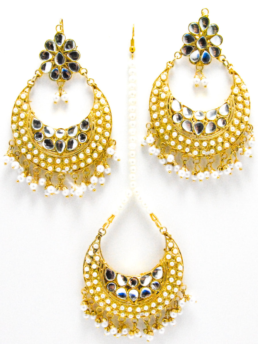 Maharani Kundan Earrings and Mang Tikka Set - Desi Royale