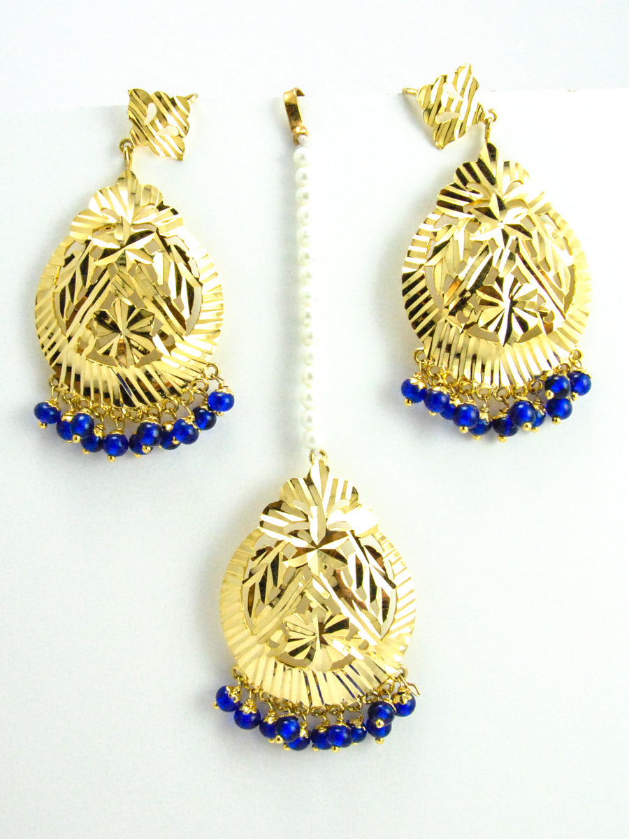 Flower Earrings and Mang Tikka Set with Blue beads - Desi Royale