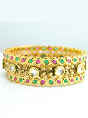 Traditional Punjabi Chuda with Kundan work - Desi Royale