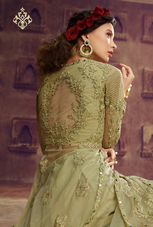 Pastel Green Party wear gown - Desi Royale