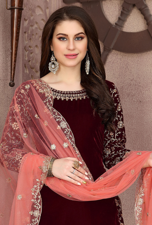 Maroon Patiala Suit - Desi Royale