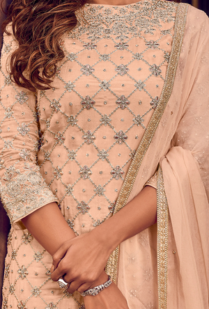 Peach Sharara Suit
