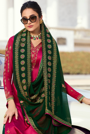 Rani Pink and Green Palazzo Suit - Desi Royale