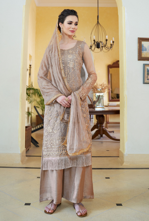Light Brown Organza Palazzo Suit - Desi Royale