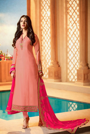 Peach  Embroidered Suit - Desi Royale