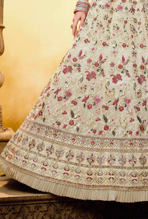 Off White and Pink Lehenga Choli