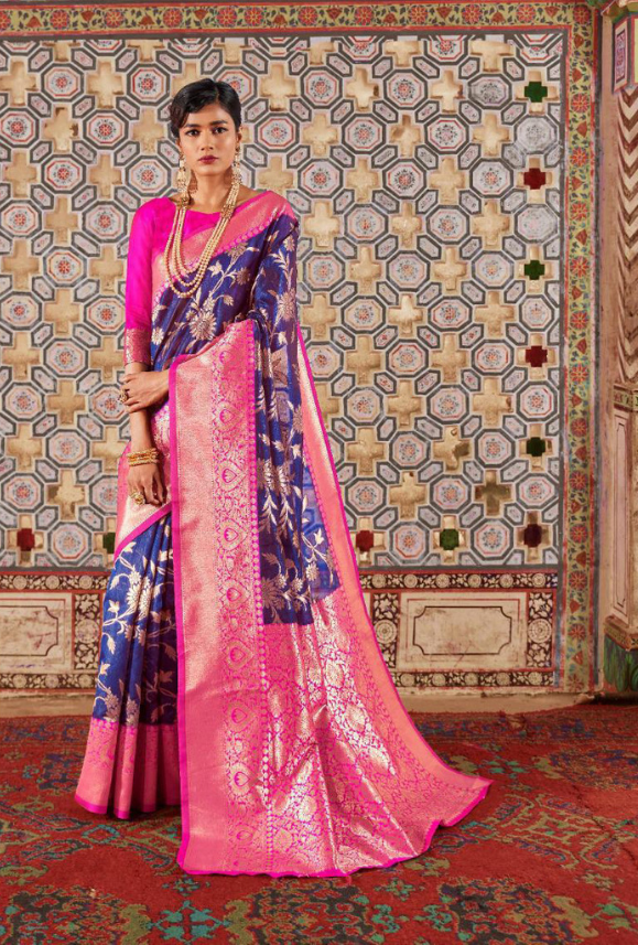 Pink and Purple Art Silk Saree - Desi Royale