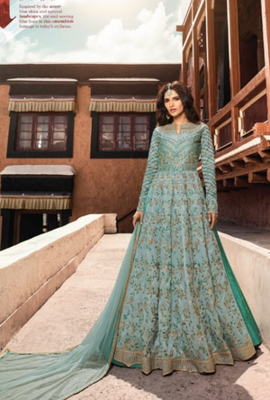 Sea Green Designer Net Anarkali Suit - Desi Royale
