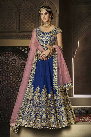 Blue Embroidered Party Wear Lehenga Set - Desi Royale