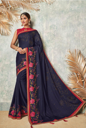 Navy Blue Silk Saree - Desi Royale
