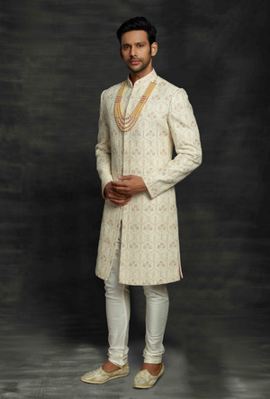 Beige and Off White Mens Sherwani