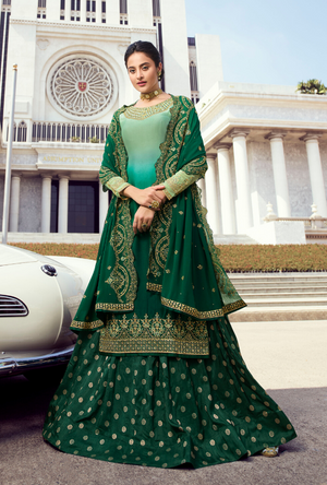 Multi Green Palazzo Suit - Desi Royale