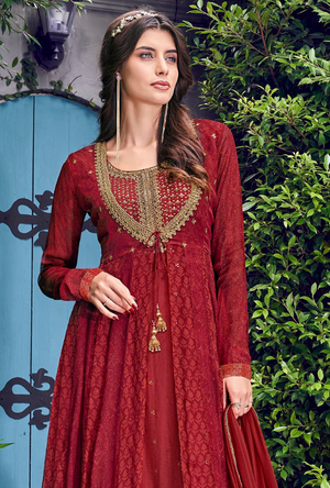 Red Indo western suit - Desi Royale