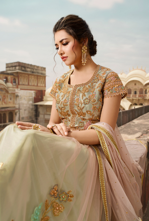Peach Bridal Anarkali Suit - Desi Royale