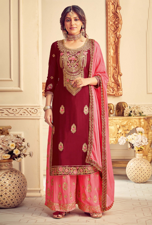 Maroon and Pink Party Wear Palazzo Suit
