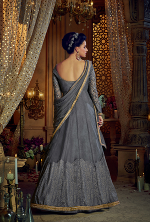 Silver Grey Embroidered Anarkali Dress - Desi Royale