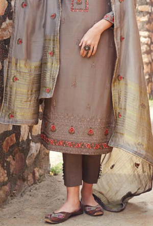 Light Coffee Salwar Suit - Desi Royale