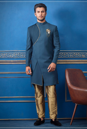 Blue and Copper Mens Sherwani