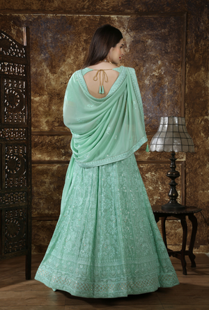 Mint Green Bridesmaids Lehenga Choli - Desi Royale