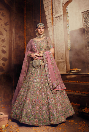 Light Brown and Pink Lehenga Choli