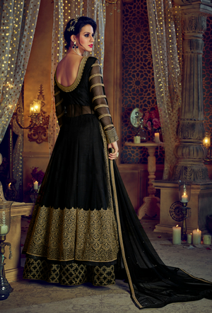 Black Embroidered Anarkali Dress - Desi Royale