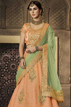 Peach  Embroidered Party Wear Lehenga Set - Desi Royale