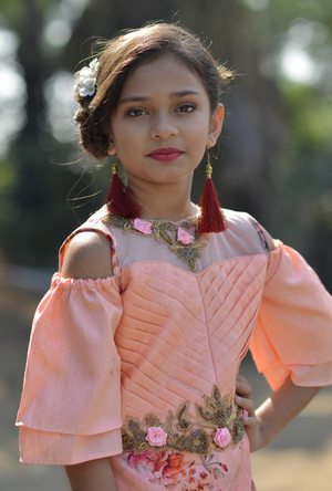 Kids Peach Dress - Desi Royale