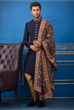 Navy Blue and Copper Mens Sherwani