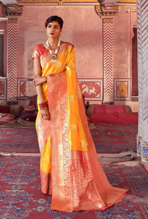 Yellow and Orange Art Silk Saree - Desi Royale