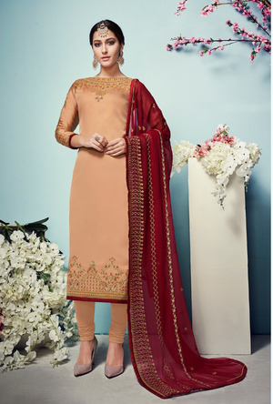 Peach Gold Salwar Suit - Desi Royale