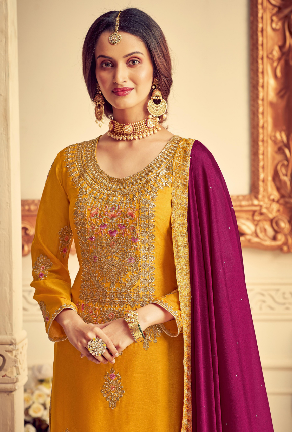 Yellow and Magenta Party Wear Palazzo Suit