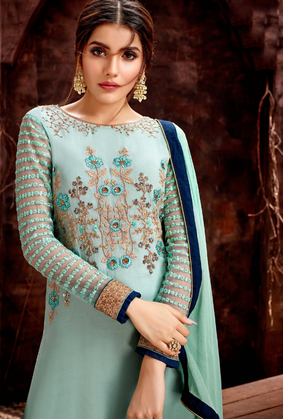 Aqua Blue Salwar Suit - Desi Royale