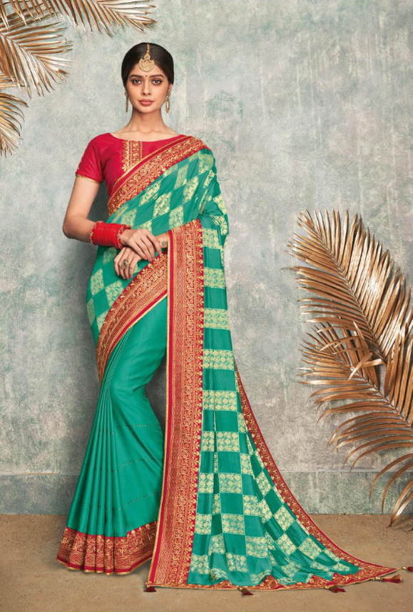 Aqua and Red Silk Saree - Desi Royale
