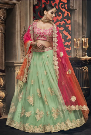 Green and Pink Designer Bridal Lehenga Choli - Desi Royale