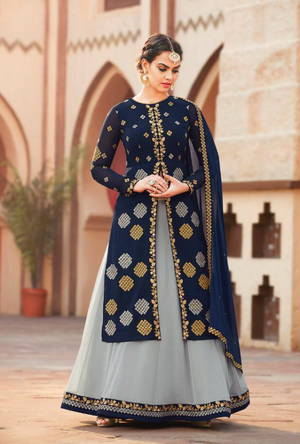 Blue and Grey Sharara Salwar Kameez - Desi Royale