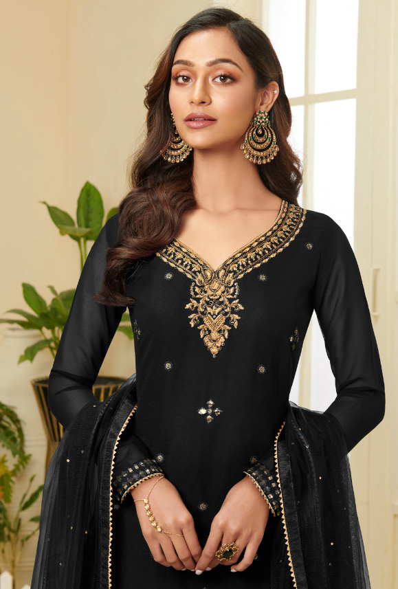 Black Sharara Suit