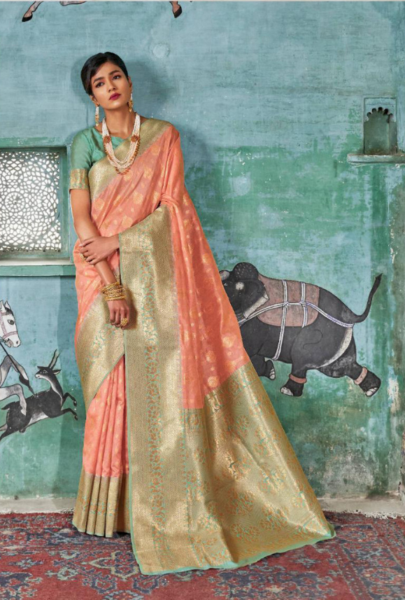 Peach and Aqua Art Silk Saree - Desi Royale