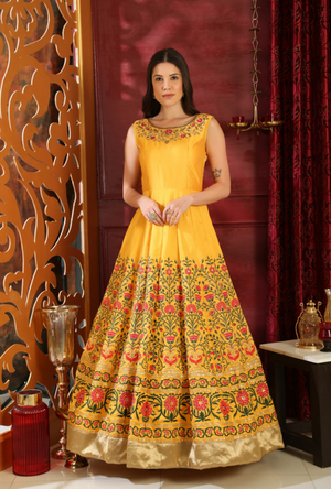 Yellow Anarkali Suit - Desi Royale