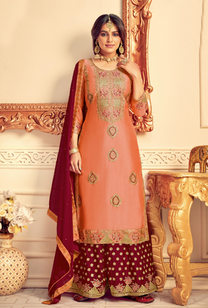 Peach and Maroon Party Wear Palazzo Suit