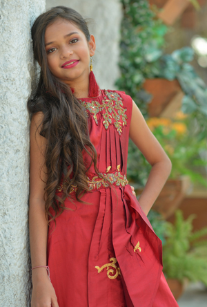 Kids Maroon Dress - Desi Royale