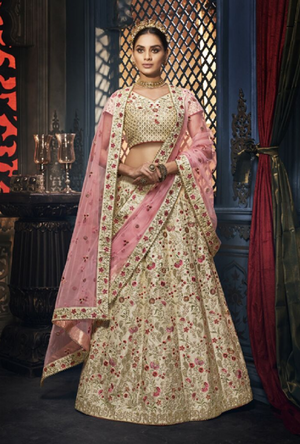 Cream Designer Bridal Lehenga Choli - Desi Royale