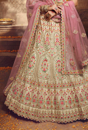 Cream and Pink Lehenga Choli
