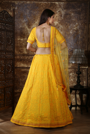 Yellow Bridesmaids Lehenga Choli - Desi Royale