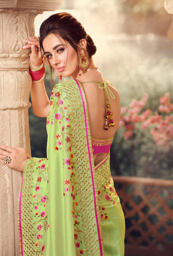 Liril Green Designer Saree