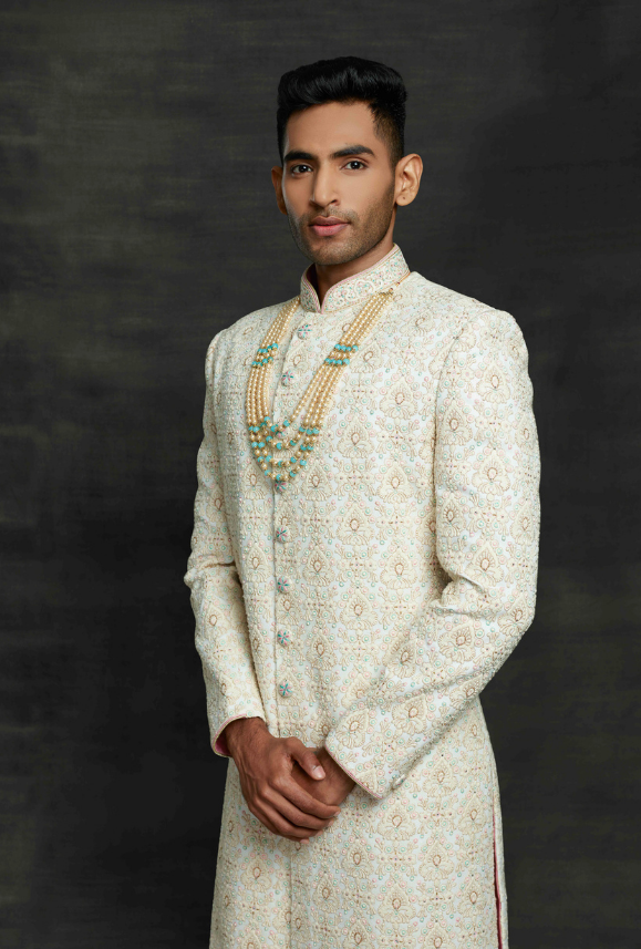 White and Off White Mens Sherwani