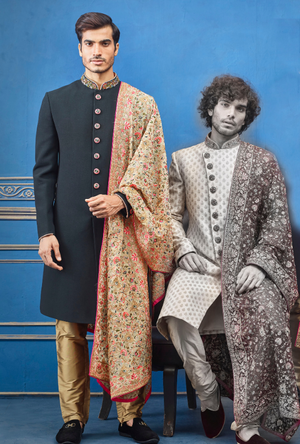 Black and gold Mens Sherwani