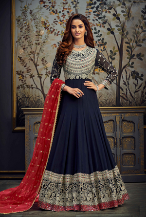 Navy Blue and Red Anarkali Suit