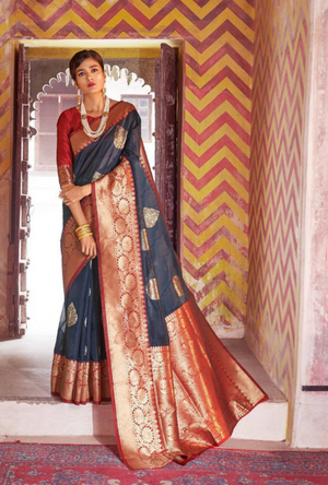 Dark Grey and Red Art Silk Saree - Desi Royale